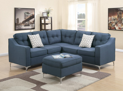 4PCS NAVY SECTIONAL SET WITH OTTOMAN-F6999
