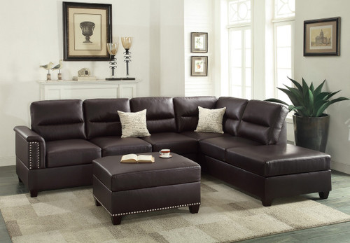 3PCS ESPRESSO SECTIONAL SOFA SET WITH OTTOMAN