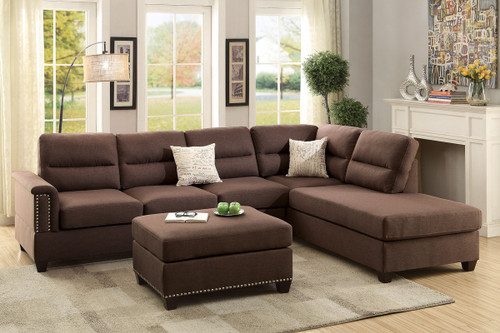 3PCS CHOCOLATE SECTIONAL SOFA SET WITH OTTOMAN
