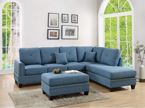 2PCS BLUE SECTIONAL SOFA-F6512