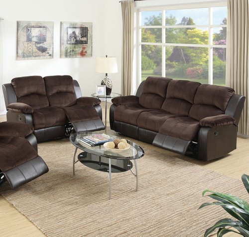 2 PCS CHOCO COLOR SOFA AND LOVESEAT RECLINER SET