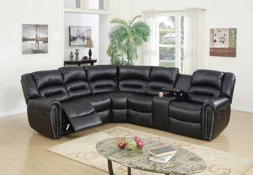 3PCS RECLINING SECTIONAL BLACK