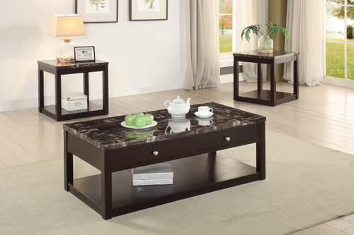 3PCS MARBLE FINISH COFFEE TABLE SET