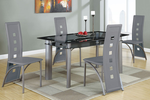 5PCS BLACK OR SILVER DINING SET-F2212-F1748