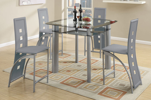 5PCS BLACK OR SILVER VERTICAL TABLE DINING SET