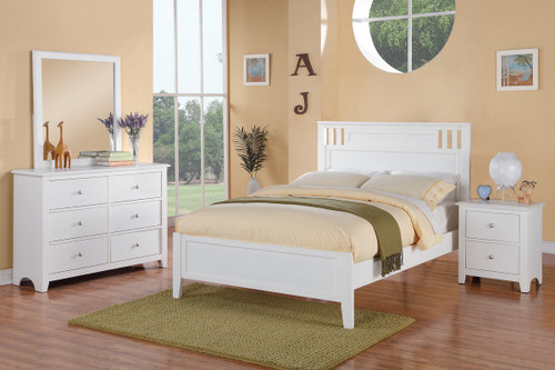 WHITE TWIN/FULL BED FRAME-F9123