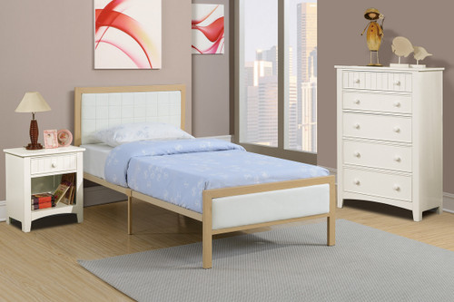 TWIN/FULL BED PU WHITE-F9392