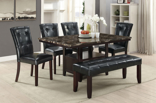5PCS MARBLE ESPRESSO TABLE DINING SET