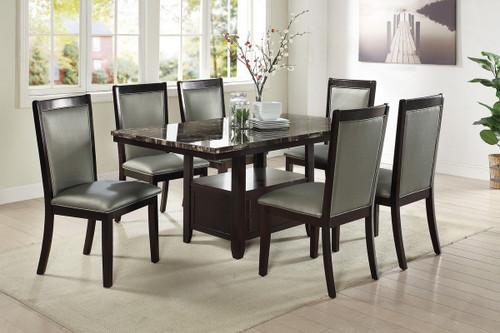 7PCS MARBLE ESPRESSO TABLE DINING SET