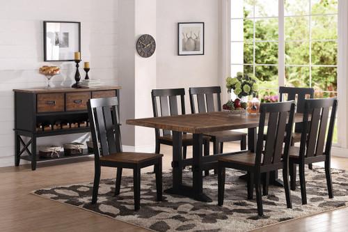 DARK BROWN WOOD FINISH DINING TABLE-F2323