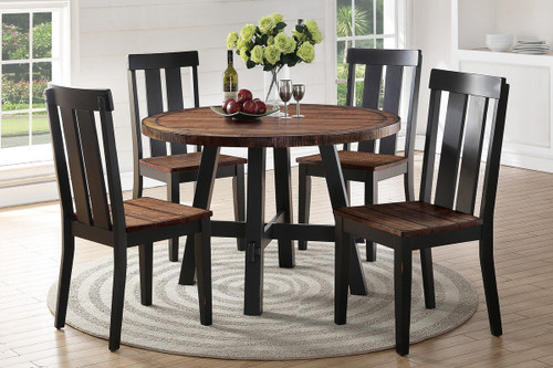5PCS DARK BROWN ROUND DINING TABLE SET