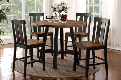 5PCS BROWN ROUND COUNTER HEIGHT TABLE SET-F2324-F1572