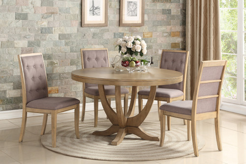 5PCS NATURAL WOOD ROUND DINING TABLE SET
