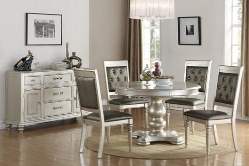 5PCS SILVER FINISH ROUND DINING TABLE SET