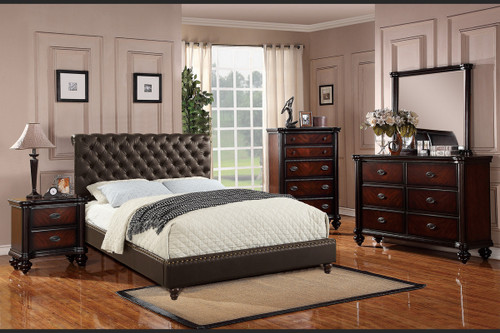 QUEEN/KING BED ESPRESSO LEATHER-F9369
