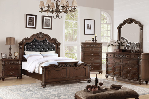QUEEN BED DARK BROWN LEATHER-F9386