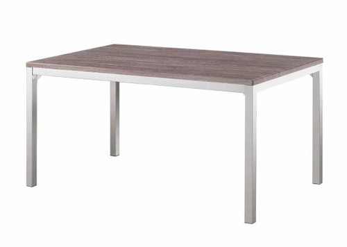 Eldridge Casual Dining Table with Weathered Table Top and Chrome Finished Base