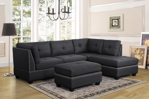 GRAY LINEN POLYFIBER SECTIONAL OTTOMAN SOFA SET