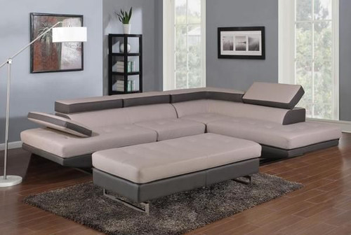 Grey 2 Piece Sectional Sofa and Chaise