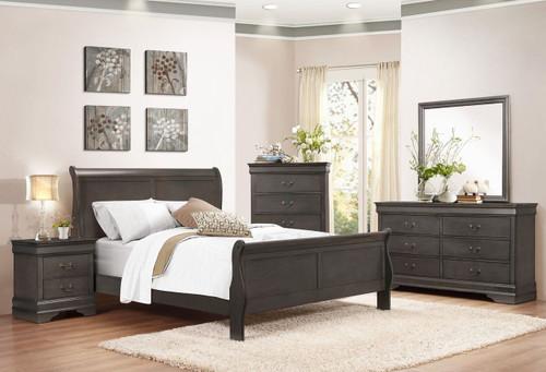 6 PCS EMMA GREY SLEIGH BED SET-QK