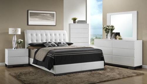 6 PCS AVERY WHITE PLATFORM BED SET