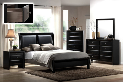 6 PCS EMILY BLACK BEDROOM SET