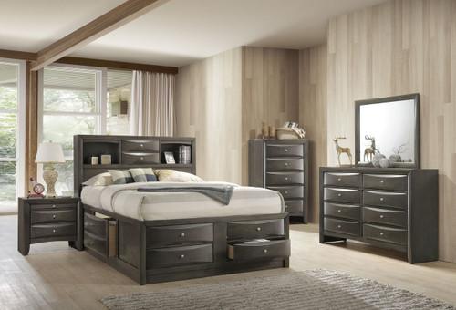 6 PCS EMILY STORAGE GREY BEDROOM SET