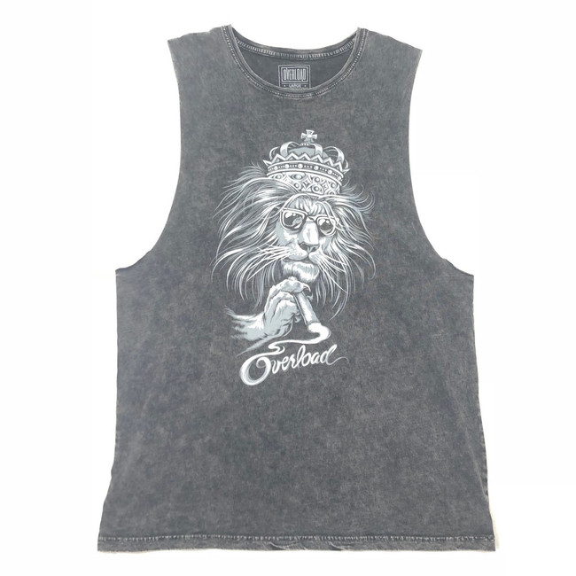 Overload - Tank Top - Lion - Black Stone Wash