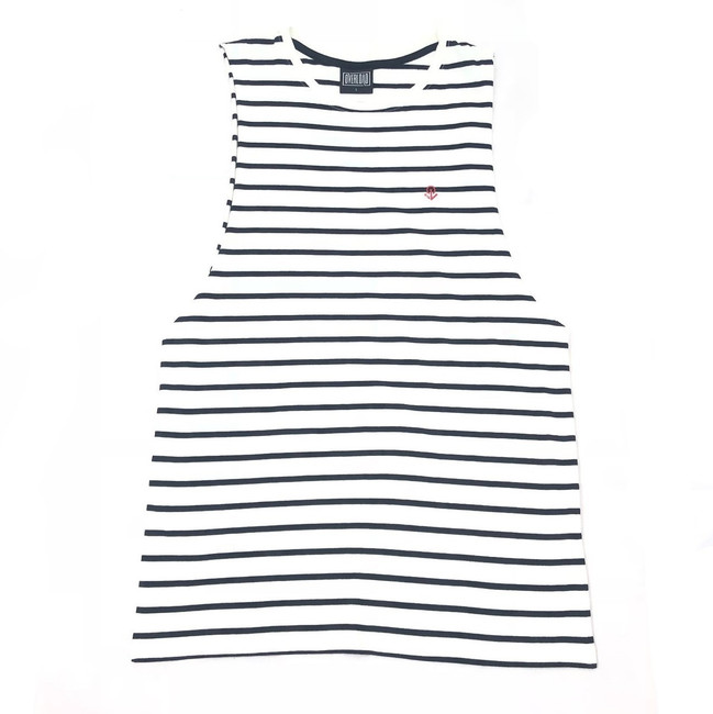 Overload - Tank Top - Anchor Stripe - Navy/White