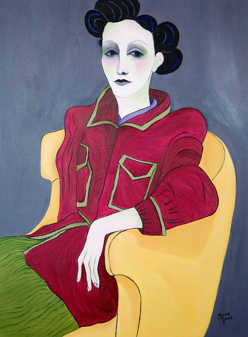 Woman Seated in Yellow Chair