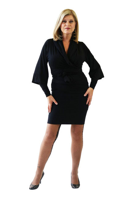 The classic wrap jacket shown with the lined skirt and arm gloves.