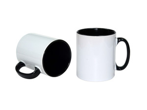 11oz Premium Black Inside  and Handle Photo Mug for Sublimation - AAA Grade