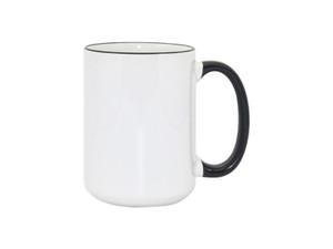15oz Premium Black Rim and Handle Photo Mug for Sublimation - AAA Grade