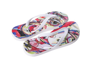 Sublimation Flip Flops with 3 Strap Color Options and White Base - Adult Small