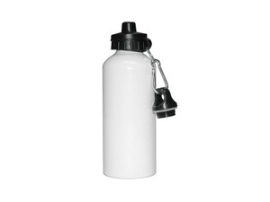600ml Aluminium Water Bottle With White Coating and Two Tops