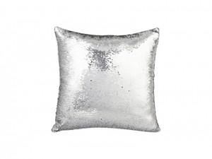 Flip Sequin Pillow Cover Silver With Black (White Back)