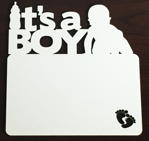 It's a Boy Hardboard Plaque 7 inches by 7 inches