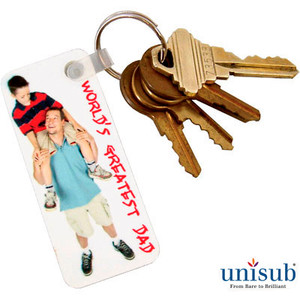 Unisub™ 1.25x3 Rectangle FRP Key Tag 2sided - White Gloss - INVENTORY CLOSEOUT