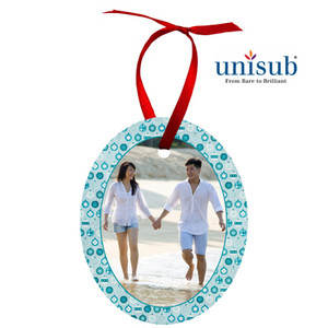 Unisub™ Oval 2-Sided White Gloss Aluminum Ornament - INVENTORY CLOSEOUT