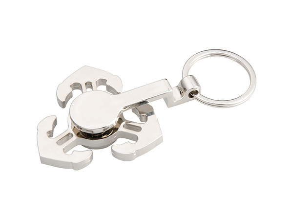 Silver Fidget Spinner with Anchors and a Key Ring