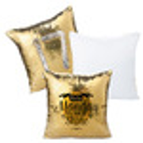 Flip Sequin Pillow Cover Gold with Silver (White Back)