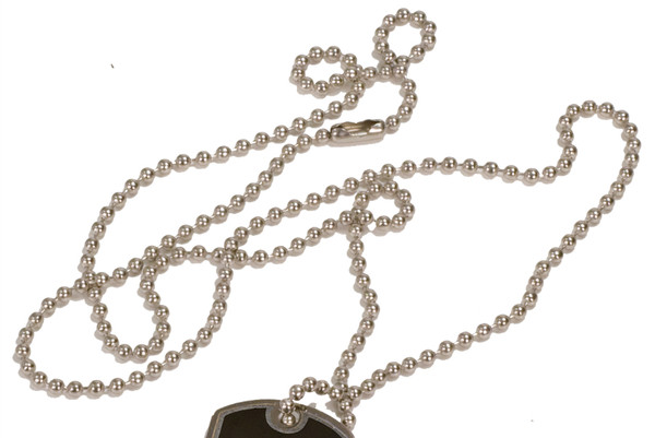"""1 1/8"""" x 2"""" Sublimatable Dog Tag - Single Sided - With 30"""" Silver Metal Neck Chain - INVENTORY CLOSEOUT"""