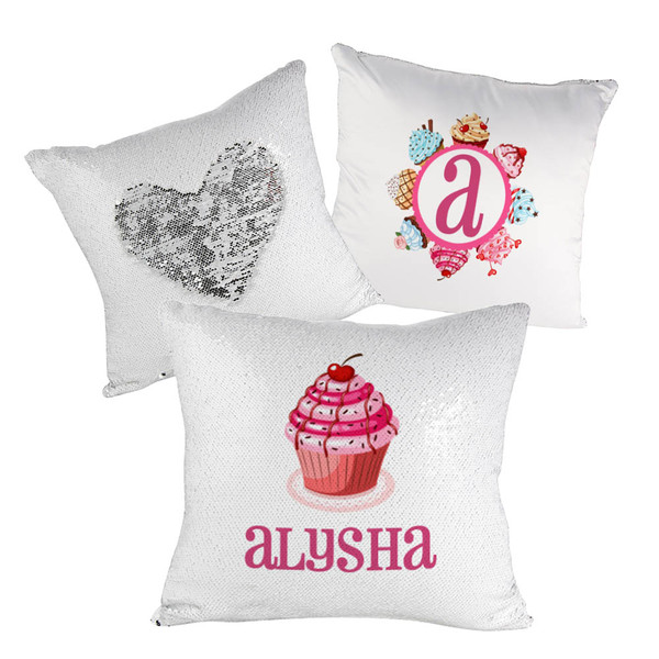 Flip Sequin Pillow Cover Silver With White (White Back)