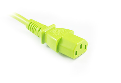 1M Green IEC C13 to C14 Power Cable