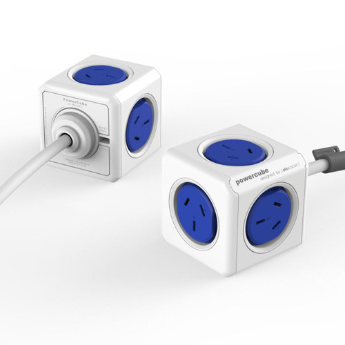 Power Cube 4 Power Outlets with 2 x USB Ports 1.5M Blue