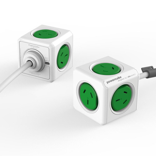 Power Cube 4 Power Outlets with 2 x USB Ports 1.5M Green