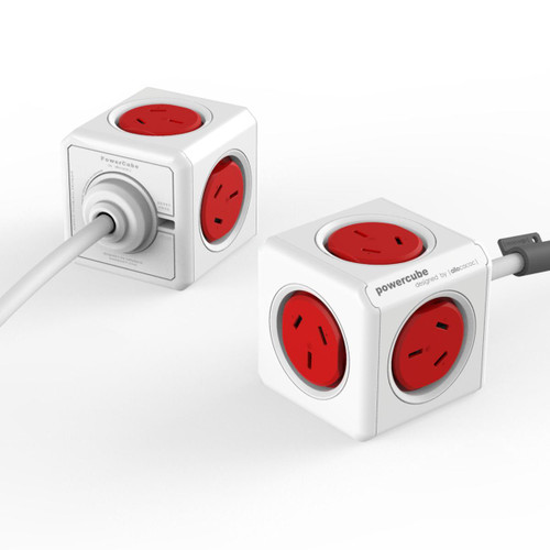 Power Cube 4 Power Outlets with 2 x USB Ports 1.5M Red