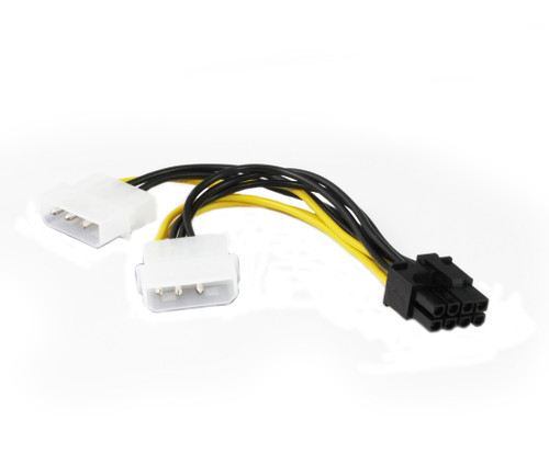 15CM PCIe 8Pin ( 6+2 ) Male to 2 x Molex 4Pin Female Cable