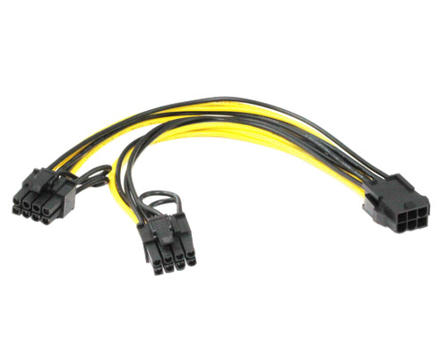 20CM PCIe 6Pin Female to 2 x 8Pin ( 6+2 ) Male Cable