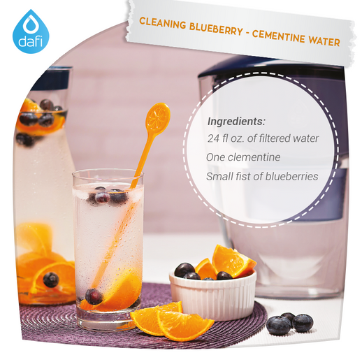 Cleaning blueberry-clementine water